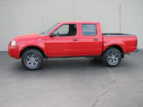 Aztec Red 2004 Nissan Frontier XE V6 Crew Cab 4x4 with Gray interior Aztec