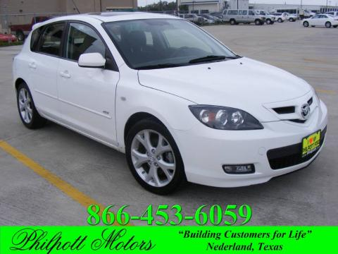 Crystal White Pearl 2007 Mazda MAZDA3 s Touring Hatchback with Black