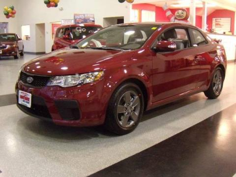 Spicy Red 2010 Kia Forte Koup EX with Stone interior Spicy Red Kia Forte