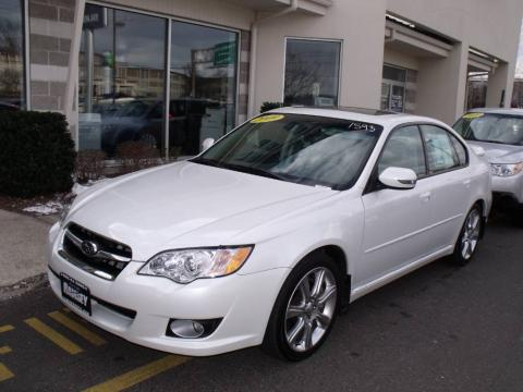 Satin White Pearl 2009 Subaru Legacy 3.0R Limited with Warm Ivory interior