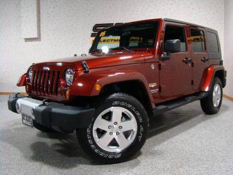 Red Rock Crystal Pearl 2008 Jeep Wrangler Unlimited Sahara 4x4 with Dark