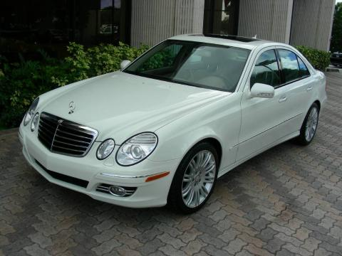 Arctic White Mercedes-Benz E 350 Sedan.  Click to enlarge.