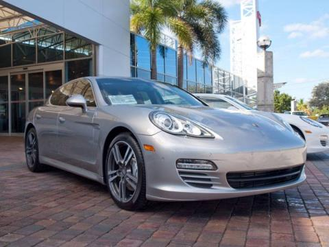 Platinum Silver Metallic 2010 Porsche Panamera 4S with Espresso Natural