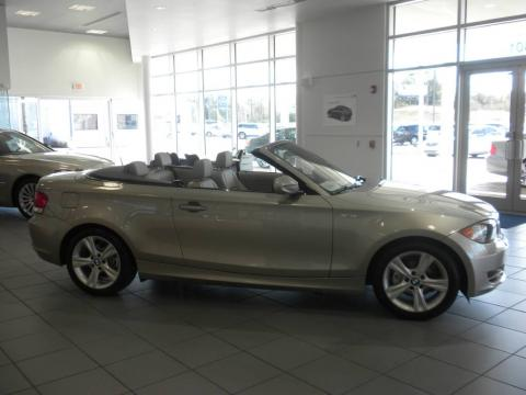 Cashmere Silver Metallic 2010 BMW 1 Series 128i Convertible with Taupe