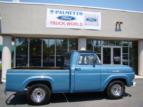 Blue Ford F100 Pickup Truck.  Click to enlarge.