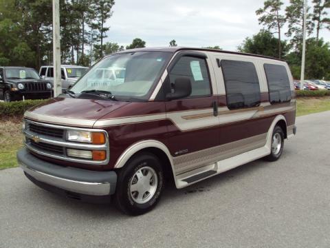 Dark Carmine Red Metallic Chevrolet Express G1500 Passenger Conversion Van Click To Enlarge