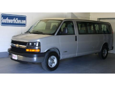 Silver Birch Metallic Chevrolet Express 3500 15 Passenger Van.  Click to enlarge.