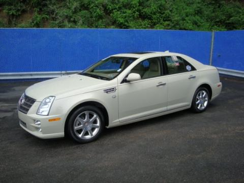 White Diamond Tricoat Cadillac STS 4 V6 AWD.  Click to enlarge.