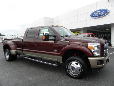 Royal Red Metallic Ford F350 Super Duty King Ranch Crew Cab 4x4 Dually.  Click to enlarge.