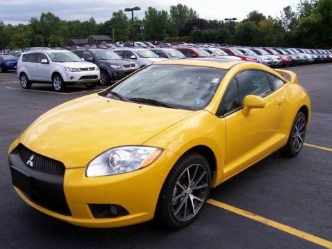 Solar Satin Yellow 2009 Mitsubishi Eclipse GT Coupe with Dark Charcoal