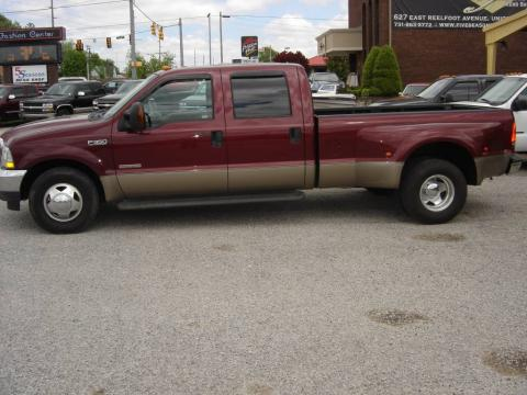 Dark Toreador Red Metallic Ford F350 Super Duty Lariat Crew Cab Dually.  Click to enlarge.