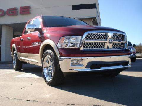 Deep Cherry Red Crystal Pearl Dodge Ram 1500 Laramie Quad Cab 4x4.  Click to enlarge.