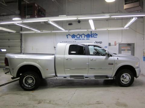 Bright Silver Metallic Dodge Ram 3500 Laramie Mega Cab 4x4 Dually.  Click to enlarge.