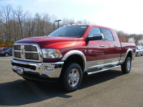 Deep Cherry Red Crystal Pearl Dodge Ram 3500 HD Laramie Mega Cab 4x4.  Click to enlarge.