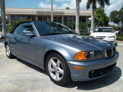 Steel Blue Metallic BMW 3 Series 325i Convertible.  Click to enlarge.