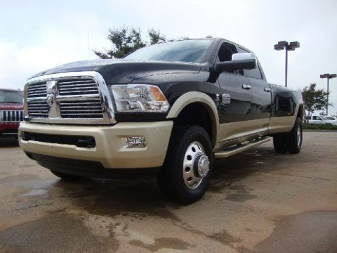 Black Dodge Ram 3500 HD Laramie Longhorn Crew Cab 4x4 Dually. Click to