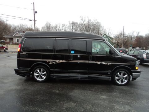 Black Chevrolet Express 1500 AWD Wheelchair Conversion Van.  Click to enlarge.