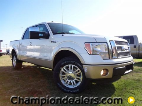 White Platinum Metallic Tri-Coat Ford F150 Lariat SuperCrew.  Click to enlarge.