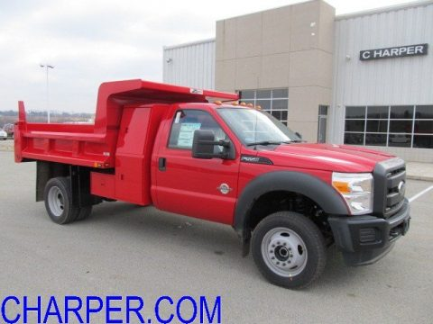 Vermillion Red Ford F450 Super Duty XL Crew Cab 4x4.  Click to enlarge.