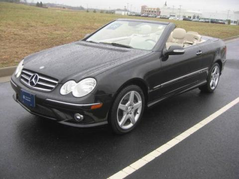 Black 2006 Mercedes-Benz CLK 500 Cabriolet with Stone interior Black