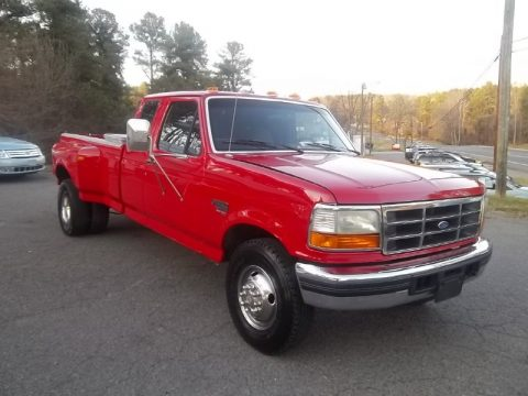 Vermillion Red Ford F350 XLT Extended Cab Dually.  Click to enlarge.