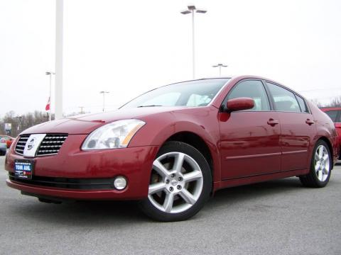 Red Opulence Metallic 2005 Nissan Maxima 3.5 SE with Black interior Red