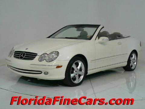 Alabaster White 2005 Mercedes-Benz CLK 320 Cabriolet with Ash interior