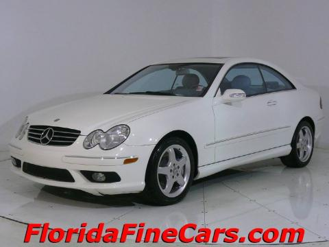 Alabaster White 2004 Mercedes-Benz CLK 500 Coupe with Stone interior