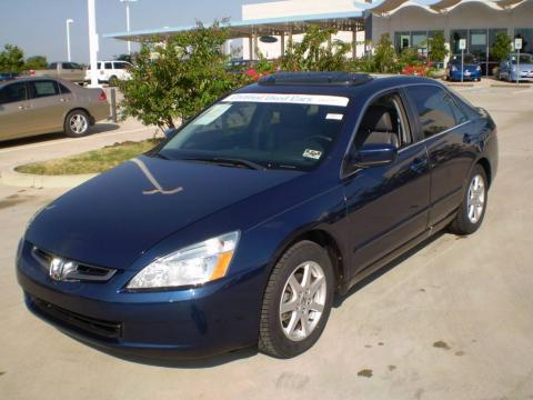 Eternal Blue Pearl 2004 Honda Accord EX V6 Sedan with Gray interior Eternal