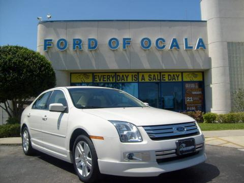 White Suede 2008 Ford Fusion SEL V6 with Medium Light Stone interior White