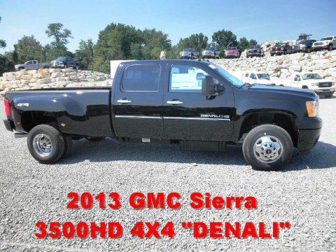 Onyx Black GMC Sierra 3500HD Denali Crew Cab 4x4 Dually.  Click to enlarge.