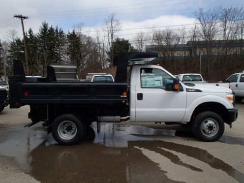 Oxford White Ford F350 Super Duty XL Regular Cab 4x4 Dump Truck.  Click to enlarge.