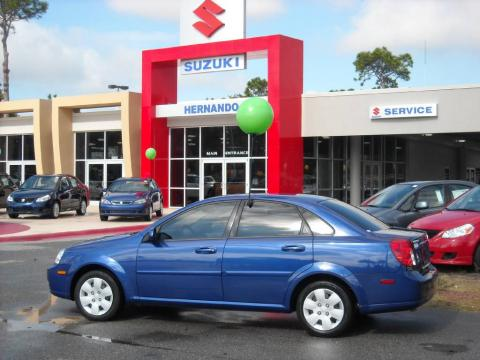 Cobalt Blue Metallic 2007 Suzuki Forenza Sedan with Grey interior Cobalt