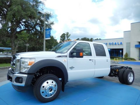 Oxford White Ford F450 Super Duty Lariat Crew Cab 4x4 Chassis.  Click to enlarge.