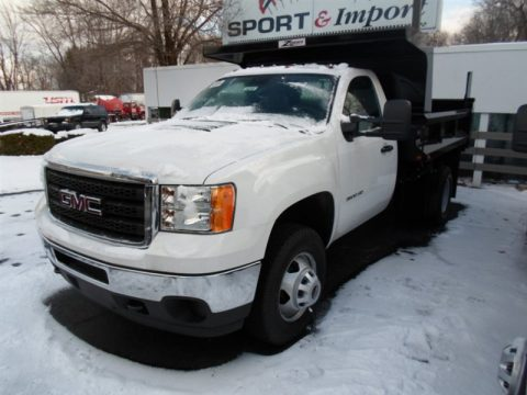 Summit White GMC Sierra 3500HD Regular Cab 4x4 Dump Truck.  Click to enlarge.